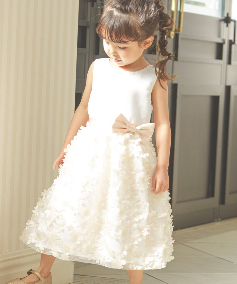 フラワーモチーフスカートキッズドレス