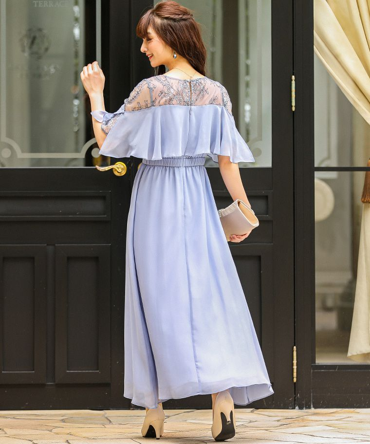 レース×シフォンロングドレス