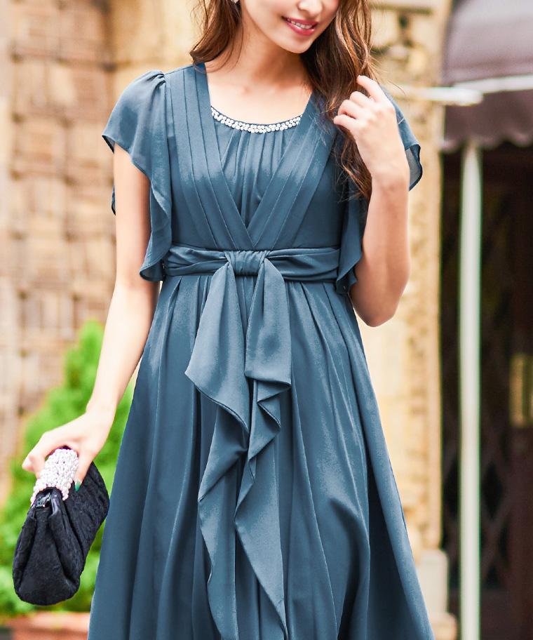 フレアスリーブ ウエストリボン ドレス
