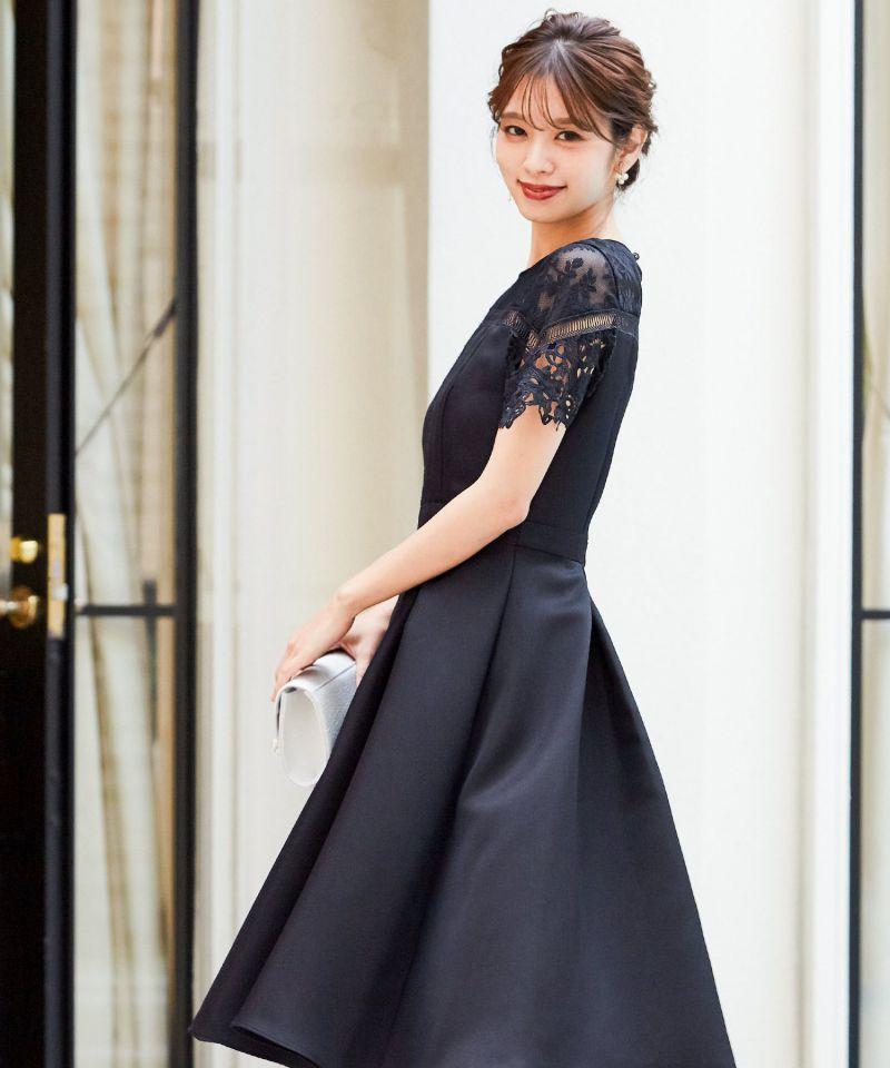 花柄レース切り替えワンピースドレス