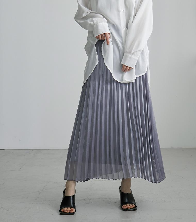シャイニーポプリンプリーツスカート