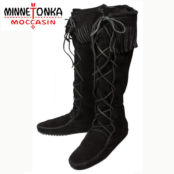 MINNETONKA/ミネトンカ フロントレース ニーハイブーツ(1429)|Black