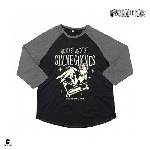 Me First And The Gimme Gimmes / ミーファースト・アンド・ザ・ギミー・ギミーズ - Martini Girl ラグランTシャツ(ブラックxグレー)