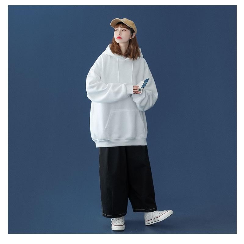 ビッグシルエットパーカー 韓国 ファッション スウェット 無地 裏起毛 病みかわいい 長袖 アウター 男女 シェア服 メンズ レディース ユニセックス 男女兼用  ゆったり  春 秋冬衣装 カジュアル 大きいサイズ ペアルック お揃い おそろ リンクコーデ  双子 カップル 親子