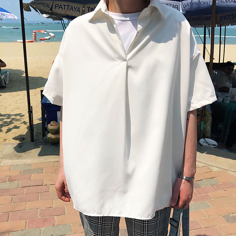 韓国 ファッション メンズ オープンネックシャツ  ポロ プルオーバー カジュアルシャツ ビッグシルエット モードストリート ストリート系 ゆったり  モード系 春物 秋 夏物 HIPHOP ダンス 大きいサイズ M L XL LL 2XL  3XL 4XL 5XL 3L 2L