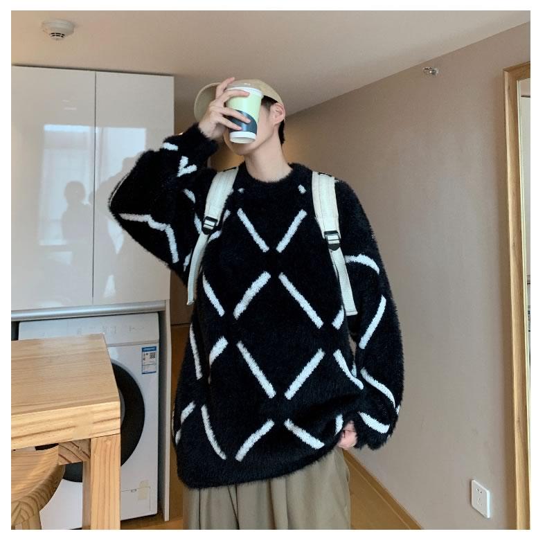 オーバーサイズ ファーニット セーター 韓国 ファッション ビッグシルエット  病みかわいい 長袖  男女 シェア服 メンズ レディース ユニセックス 男女兼用  ゆったり  春 秋冬 冬 衣装 カジュアル 大きいサイズ ペアルック お揃い おそろ リンクコーデ  双子 カップル 親子