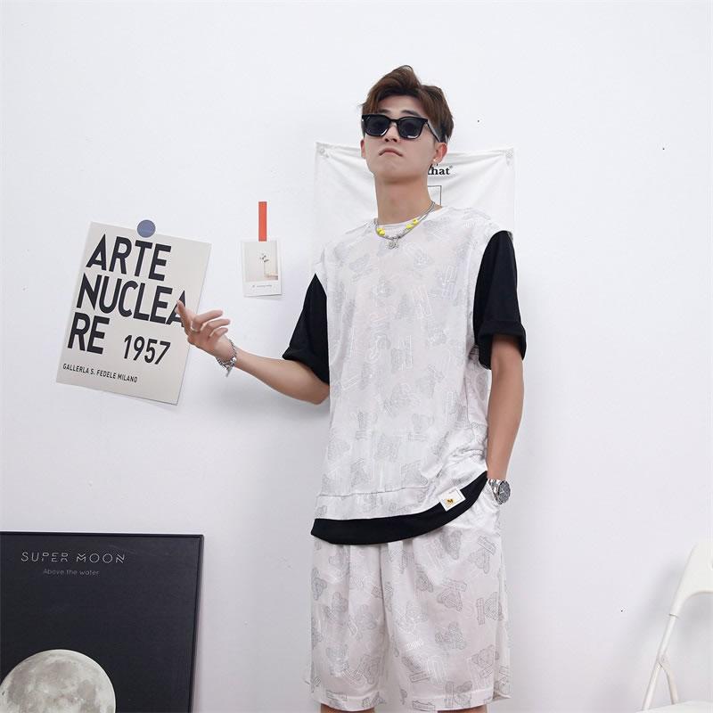 ベスト重ね着風 総柄 サマー セットアップ メンズ レディース ユニセックス 男女兼用  ゆったり シャツ  涼しい ショートパンツ上下セット  ハーパン ハーフパンツ ショーツ オラオラ  韓国 ファッション 夏 春 衣装 カジュアル おしゃれ 大きいサイズ オシャレ K-POP アイド