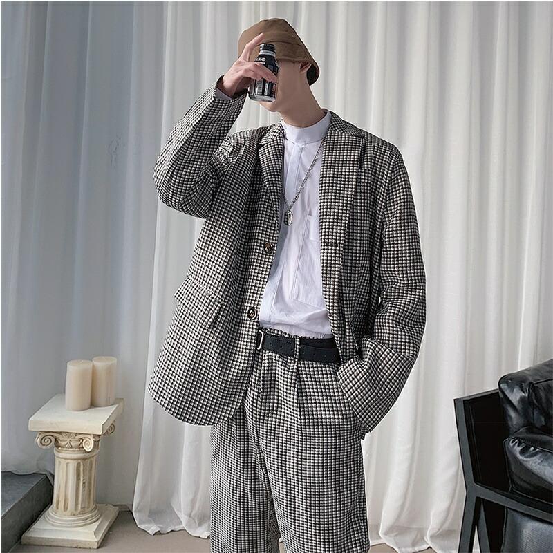 カジュアル スーツ セットアップ 千鳥柄 韓国 ファッション メンズ デザインスーツ 上下セット シングル 2ピース パーティー 結婚式 二次会 モード系 韓国系 モードストリート K-POP アイドル ゆったり 秋冬 春物 冬物 長袖 M L XL LL