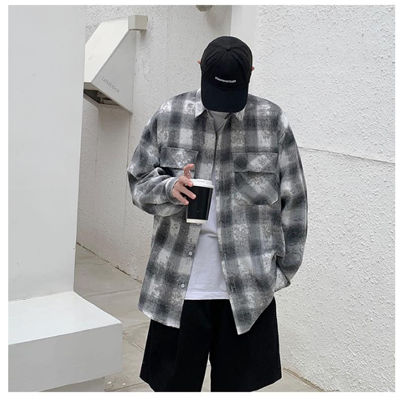 チェックシャツ ビッグシルエット チェック柄 韓国 ファッション メンズ レディース ゆったり 長袖 ユニセックス ストリート系 ストリートファッション カジュアル 春 秋 夏 個性 大きいサイズ