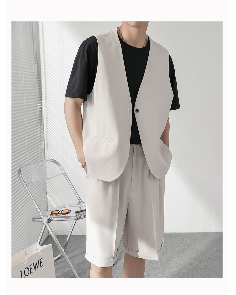 セットアップ 上下セット サマー  ベスト ジレ ショート スラックス メンズ レディース ユニセックス 男女兼用 ゆったり  涼しい ショートパンツ 上下セット  ハーパン ハーフパンツ ショーツ  韓国 ファッション 夏 春 衣装 カジュアル おしゃれ 大きいサイズ