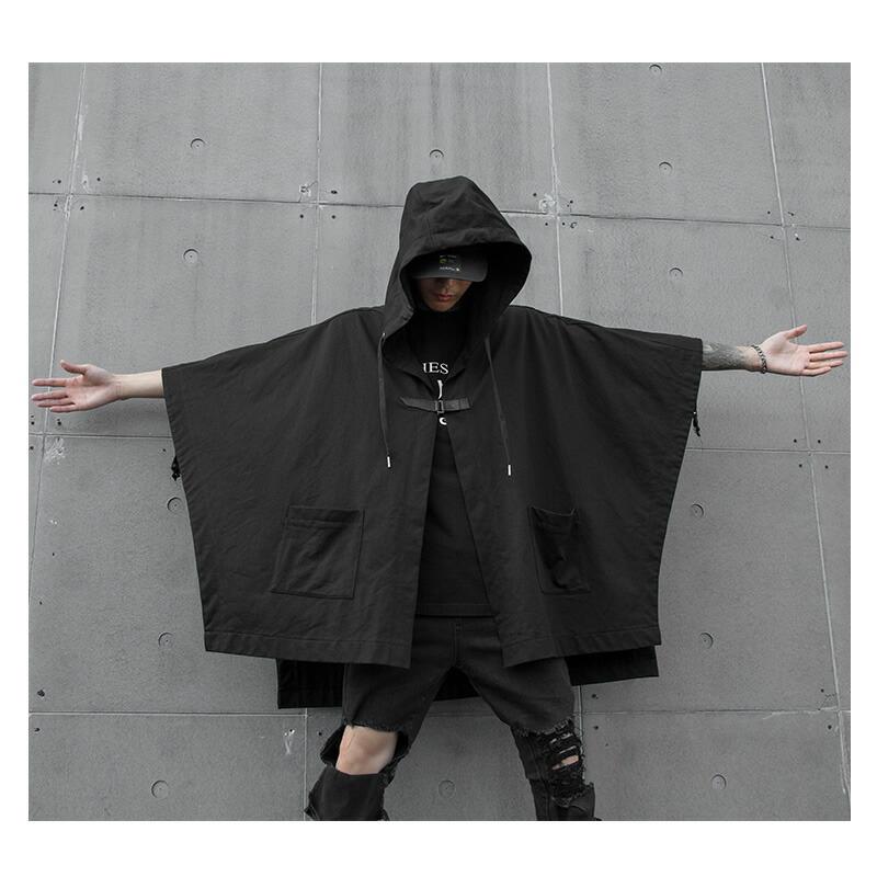 【店内全品送料無料】 もっと自由に。デザイン ポンチョ スプリング オータム 春 秋 ヴィジュアル系 V系 ゴスロリ ゴシック ビジュアル系 バンド 韓国 ファッション メンズ モード系 韓国系メンズ  K-POP アイドル モノトーン モダン