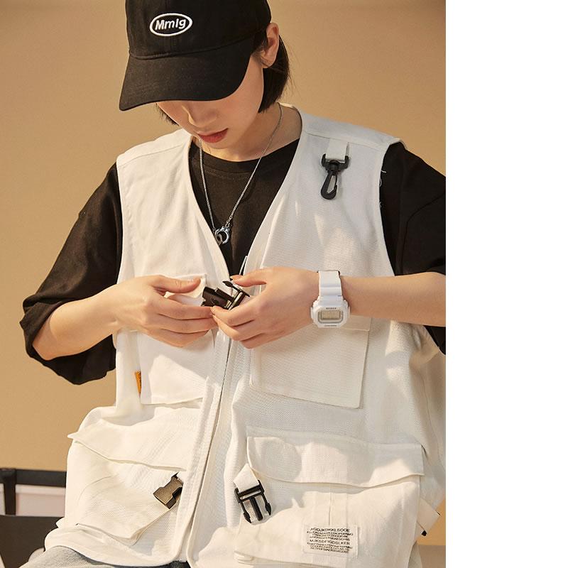 韓国 ファッション メンズ ゆるベスト チョッキ ノースリーブ ワーク フィッシング カジュアルシャツ ビッグシルエット モードストリート ストリート系 ゆったり  モード系 春物 秋 夏物 HIPHOP ダンス 大きいサイズ  S M L XL LL 2XL  3L