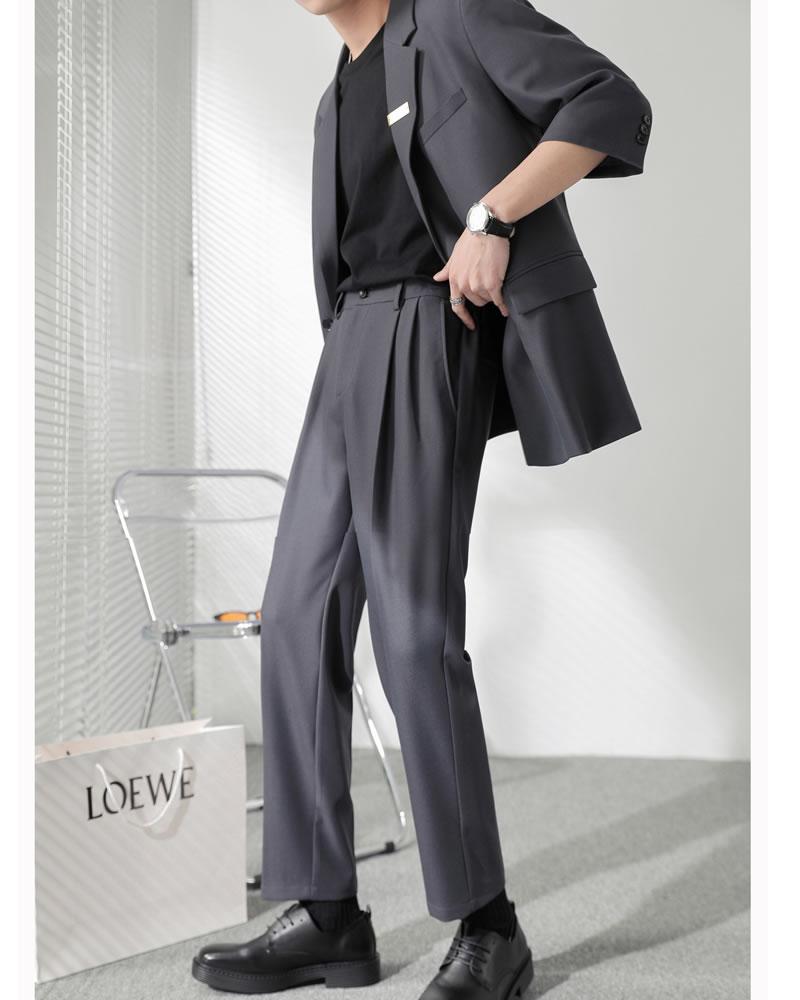カジュアルスーツ  ハーフスリーブ ゆったり セットアップ 上下セット サマー  ジャケット クロップド スラックス メンズ   涼しい 上下セット  韓国 ファッション 夏 春 衣装 カジュアル おしゃれ 大きいサイズ