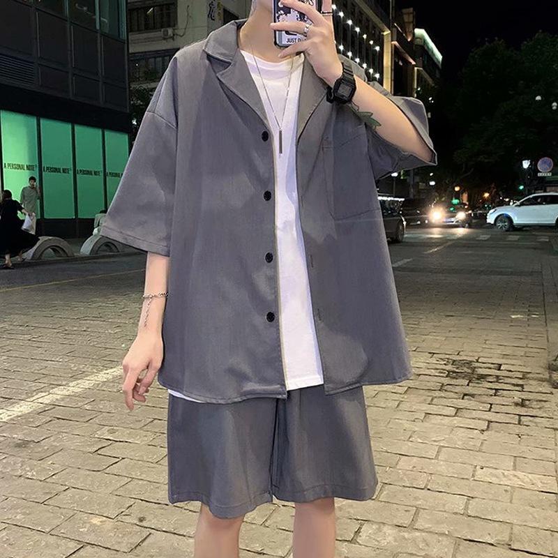 【店内全品送料無料】セットアップ メンズ 夏物 サマー セットアップ 半袖 サマースーツ 上下セット ショーツ ショートパンツ ハーフパンツ  夏 おしゃれ 大きいサイズ 結婚式 オシャレ 韓国 夏 用 メンズ