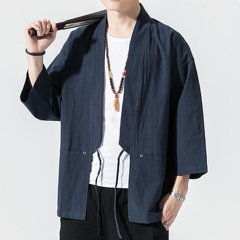 メンズ 半被 シャツ カーディガン フロントポケット ハーフスリーブ 七分袖 メンズ メンズファッション 和風 チャイナ風 中華風 モード系 モードストリート 韓流  K-POP アイドル 春 夏 サマー 祭り 法被 韓国 ファッション