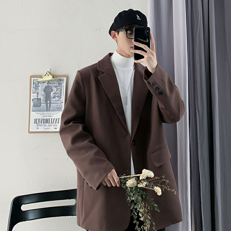 【店内全品送料無料】ビッグシルエット シングル テーラードジャケット 韓国 ファッション メンズ ゆったり 長袖  春 秋 個性 大きいサイズ オーバーサイズ ストリート系 きれいめ デート 原宿系 ダンス 衣装 B系