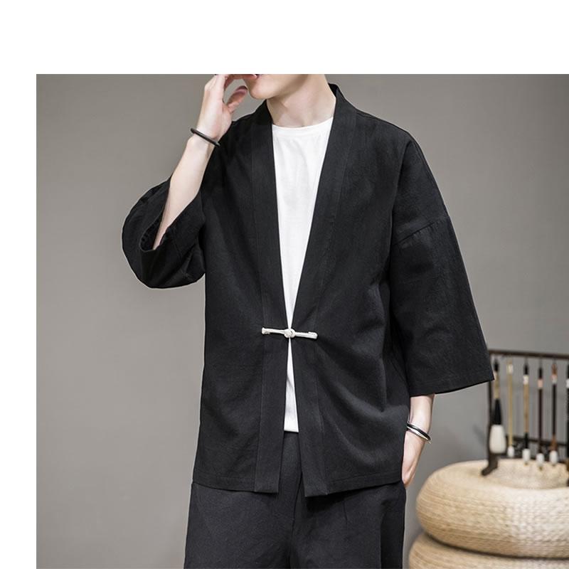 メンズ 半被 シャツ カーディガン 一つボタン ハーフスリーブ 七分袖 メンズ メンズファッション 和風 チャイナ風 中華風 モード系 モードストリート 韓流  K-POP アイドル 春 夏 サマー 祭り 法被 韓国 ファッション