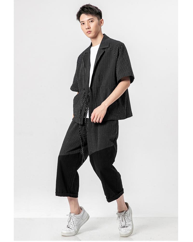 メンズ 半被 シャツ カーディガン ストライプ ハーフスリーブ 七分袖 メンズ メンズファッション 和風 チャイナ風 中華風 モード系 モードストリート 韓流  K-POP アイドル 春 夏 サマー 祭り 法被 韓国 ファッション