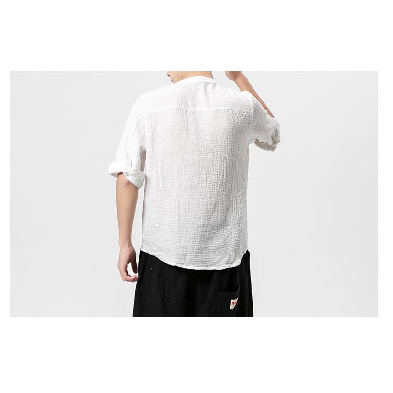 メンズ チャイナ風  ヘンリーネック Tシャツ バンドカラー ハーフスリーブ 七分袖 ティーシャツ カットソー メンズ メンズファッション 和風 中華風 モード系 モードストリート 韓流  K-POP アイドル 春 夏 サマー 祭り 韓国 ファッション