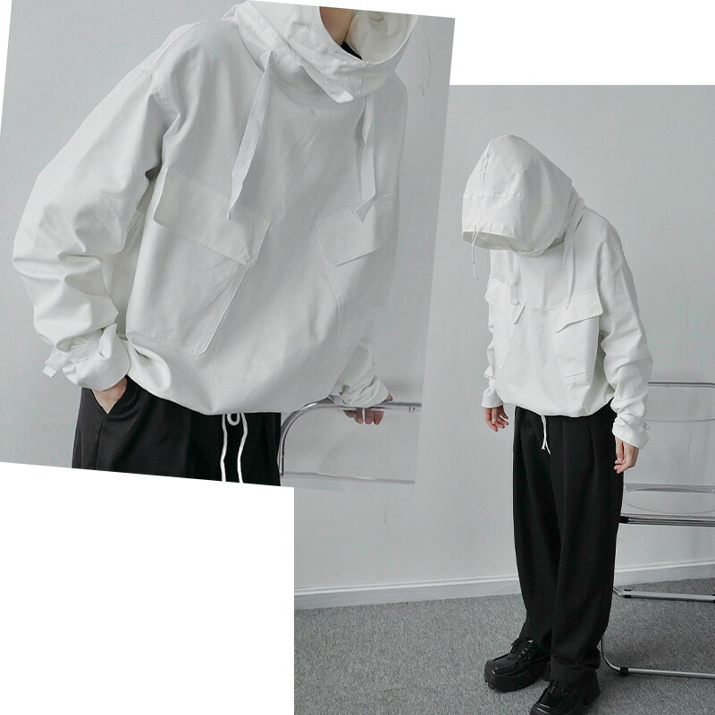 ビッグシルエット フードジャケット ポンチョ マウンテンパーカー ワンサイズ フリーサイズ 韓国 ファッション メンズ ゆったり 長袖 ロングスリーブ メンズ ストリート カジュアル メンズ 春 秋 冬 個性 大きいサイズ