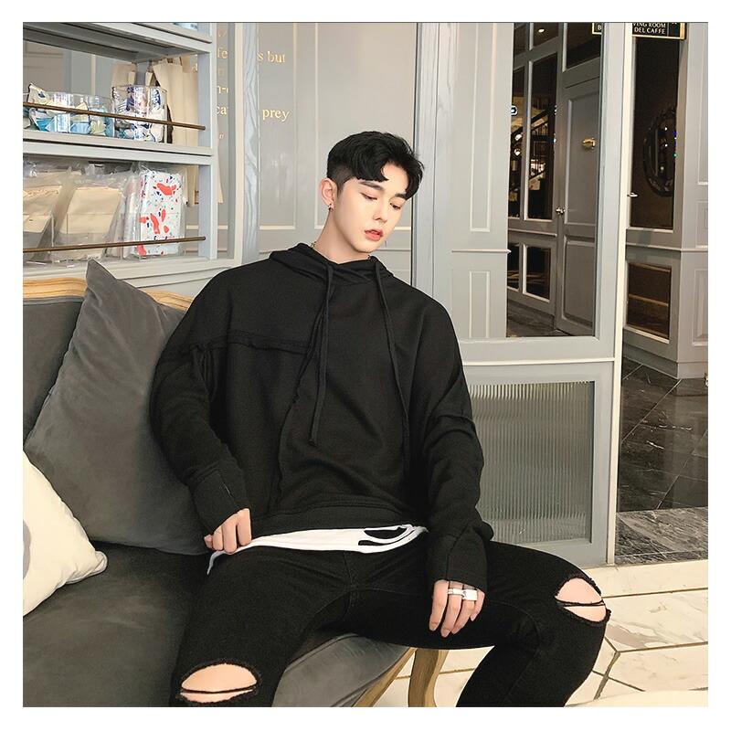 【在庫あり】【店内全品送料無料】 気分を変える。メンズ 変形 パーカー アシンメトリ アシメ  ビッグシルエット ゆったり フード プルオーバー 被り 長袖 ロングスリーブ ストリート スト系 韓国 ファッション デザイン ダンス 衣装 メンズファッション モード系 大きいサイ