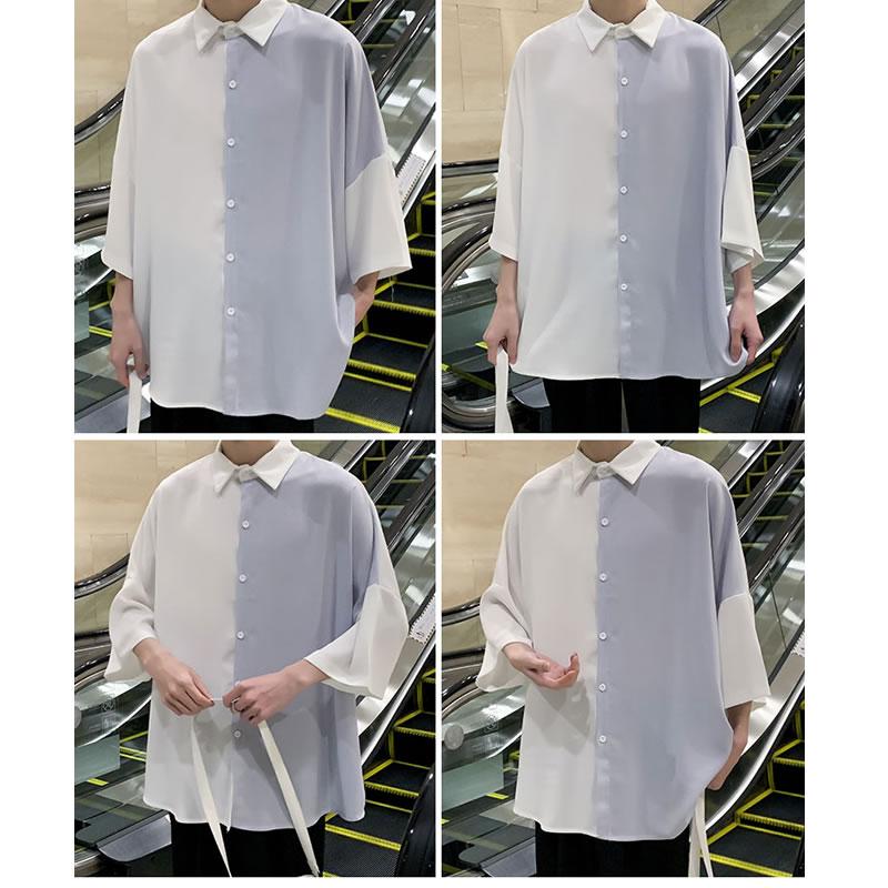 韓国 ファッション メンズ  ビッグシルエット  切り替え シャツ ドロップショルダー ハーフスリーブ   カジュアルシャツ モードストリート ストリート系 ゆったり  モード系 春物 秋 夏物 サマー HIPHOP ダンス 大きいサイズ