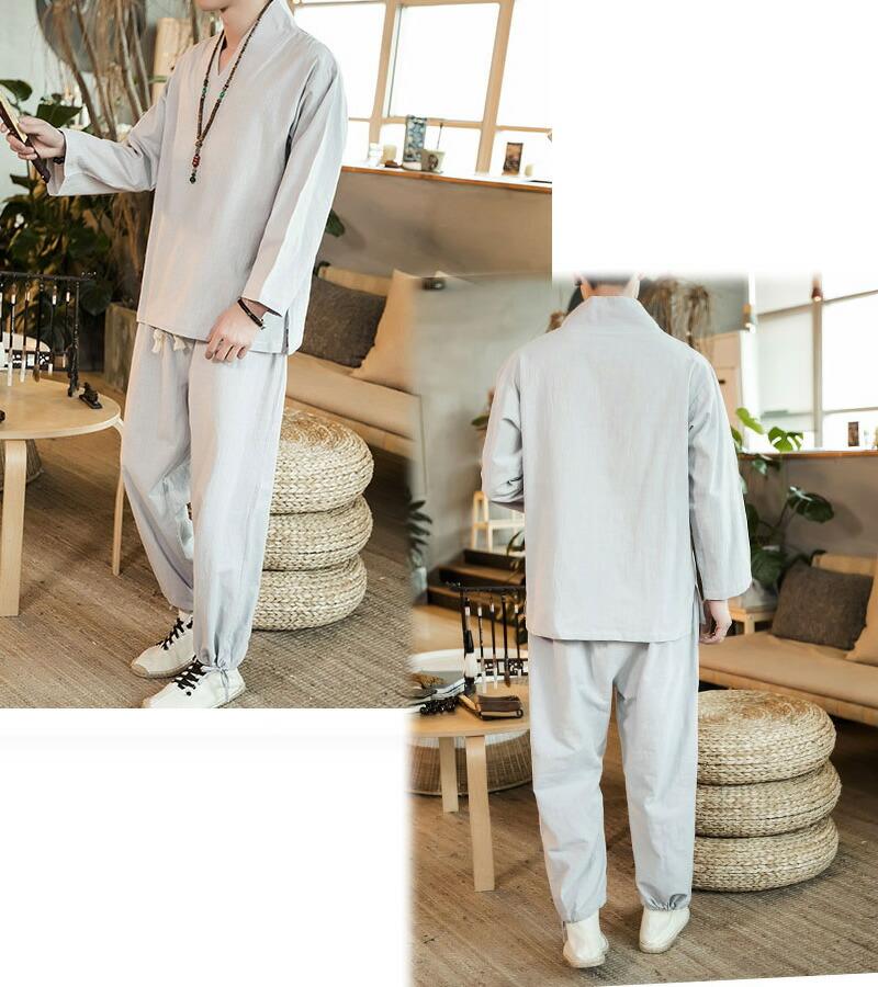 【店内全品送料無料】メンズ  チャイナ セットアップ 上下 チャイナシャツ パンツ 上下セット ダンス 普段着 部屋着 リラックス 中華風 エスニック 9分袖 九分袖