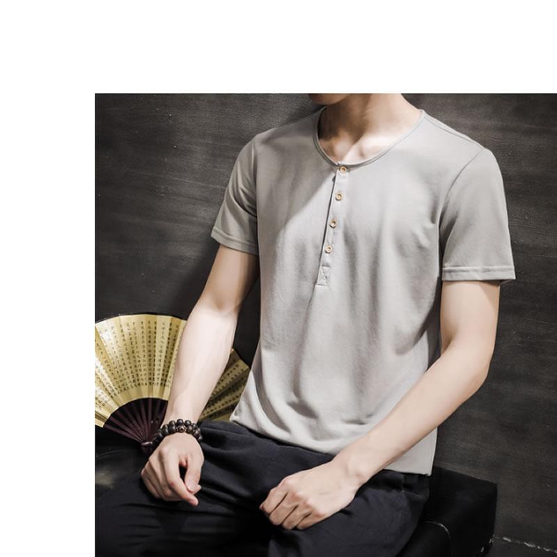 メンズ チャイナteeTシャツ ヘンリーネック 半袖 ティーシャツ カットソー メンズ メンズファッション 和風 中華風 モード系 モードストリート 韓流  K-POP アイドル 春 夏 サマー 祭り 韓国 ファッション
