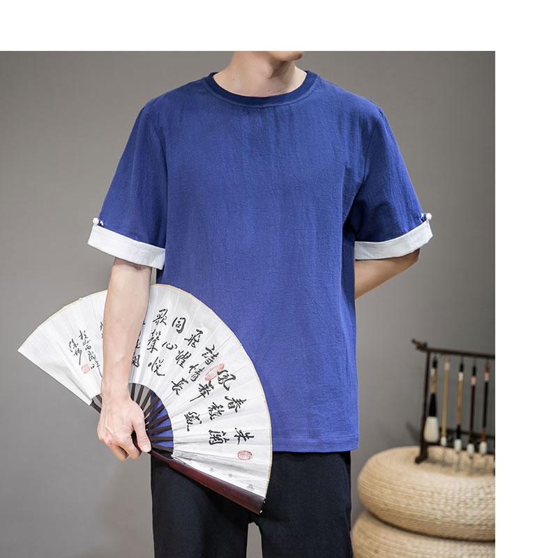 メンズ チャイナteeTシャツ  半袖 ティーシャツ カットソー メンズ メンズファッション 和風 中華風 モード系 モードストリート 韓流  K-POP アイドル 春 夏 サマー 祭り 韓国 ファッション