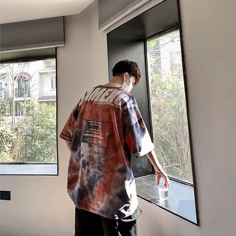 タイダイ柄 ビッグプリント Tシャツ  ビッグシルエット 韓国 ファッション メンズ レディース ゆったり 半袖 ユニセックス ストリート系 ストリートファッション カジュアル 春 秋 夏 個性 大きいサイズ