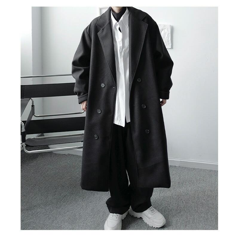 ゆったり トレンチコート オーバー ロングコート 韓国 ファッション メンズ ゆったり 長袖 ロングスリーブ メンズ ストリート カジュアル メンズ 春 秋 冬 個性 大きいサイズ ビッグシルエット