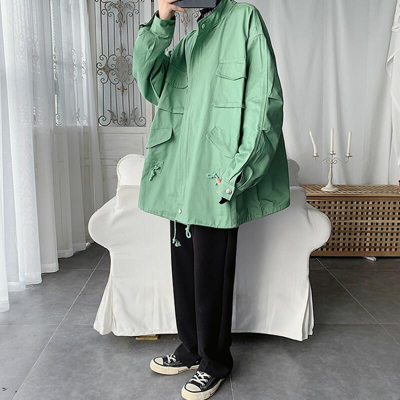 【店内全品送料無料】ユルっとが気持ちいい メンズ マウンテンジャケット ジャケット ジャンパー アウター ビッグシルエット ゆったり  長袖 ハードシェル ストリート スト系 韓国 ファッション  ダンス 衣装 モード系 大きいサイズ ブラック 黒 グリーン 緑