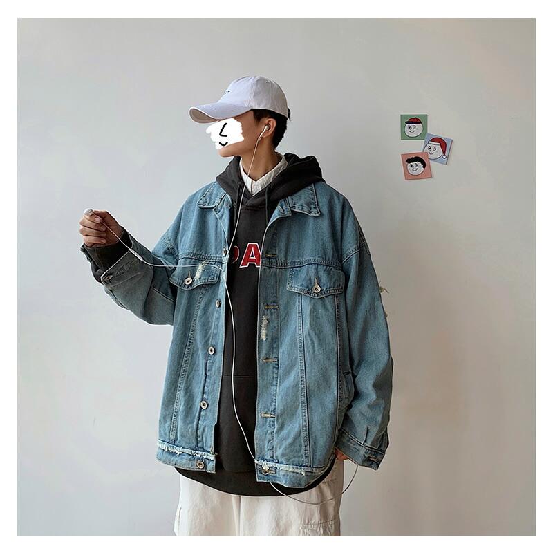 ビッグシルエット ダメージ加工 デニムジャケット Gジャン ビンテージ ヴィンテージ クラッシュ 破れ ジージャン 韓国 ファッション メンズ ゆったり 長袖 ロングスリーブ メンズ ストリート カジュアル メンズ 春 秋 冬 個性 大きいサイズ