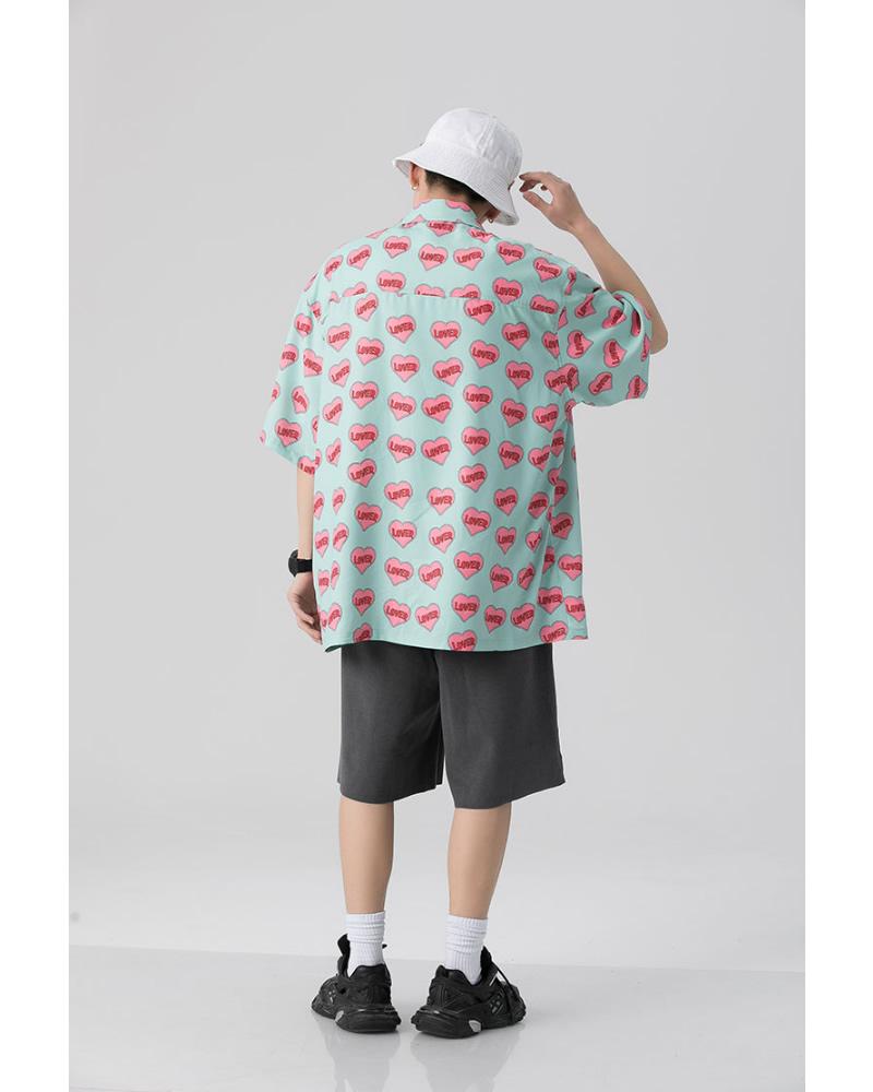 ハート 総柄 シャツ ビッグシルエット 韓国 ファッション メンズ レディース ゆったり 半袖 ユニセックス ストリート系 ストリートファッション カジュアル 春 秋 夏 個性 大きいサイズ