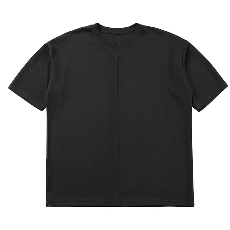 ゆったり ズレ 切り替え 無地 Tシャツ 半袖 ハーフスリーブ ティーシャツ ドロップショルダー  tee  韓国 ファッション ジェンダーレス モード系 ゴスロリ V系 メンズ ショートスリーブ  ストリート カジュアル メンズ 春  夏 個性 大きいサイズ ビッグシルエット