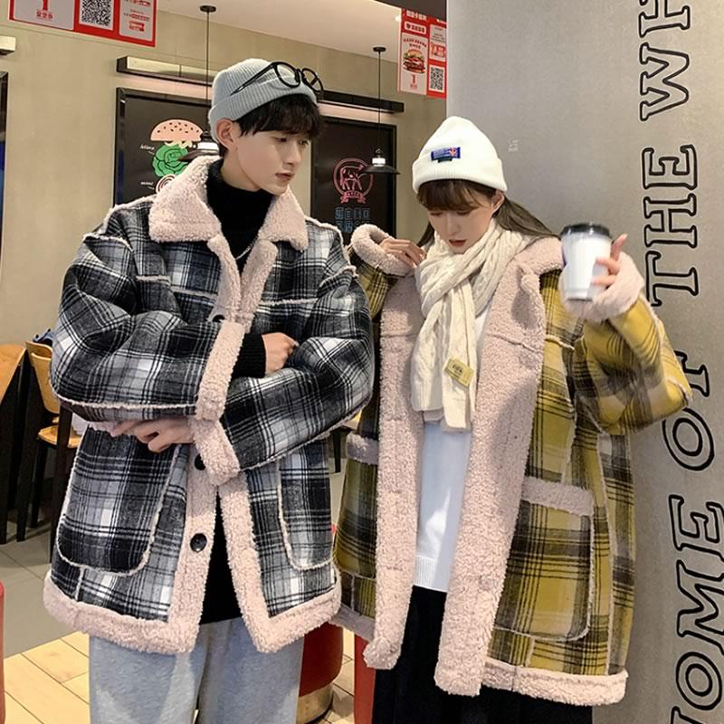 韓国 ファッション ゆったり  チェック柄 裏ボアジャケット コート ジャンパー もこもこ 防寒 保温 アウター 男女  メンズ レディース ユニセックス 男女兼用  春 秋冬  冬 衣装 カジュアル 大きいサイズ ペアコーデ お揃い おそろ リンクコーデ  双子 カップル 親子