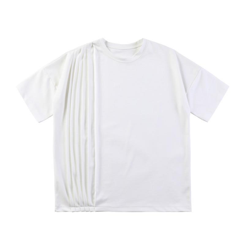 ゆったり プリーツデザイン 無地 Tシャツ 半袖 ハーフスリーブ ティーシャツ ドロップショルダー  tee  韓国 ファッション ジェンダーレス モード系 ゴスロリ V系 メンズ ショートスリーブ  ストリート カジュアル メンズ 春  夏 個性 大きいサイズ ビッグシルエット