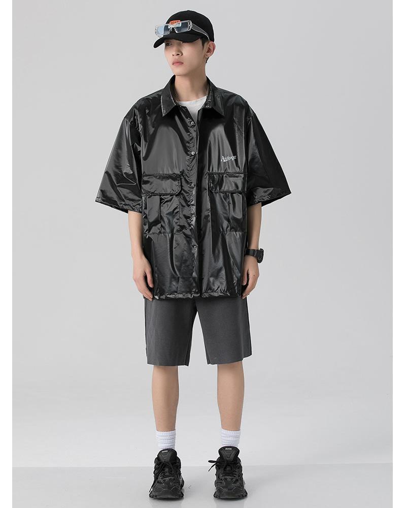 光沢 バックプリント シャツ ビッグシルエット 韓国 ファッション メンズ レディース ゆったり 半袖 ユニセックス ストリート系 ストリートファッション カジュアル 春 秋 夏 個性 大きいサイズ