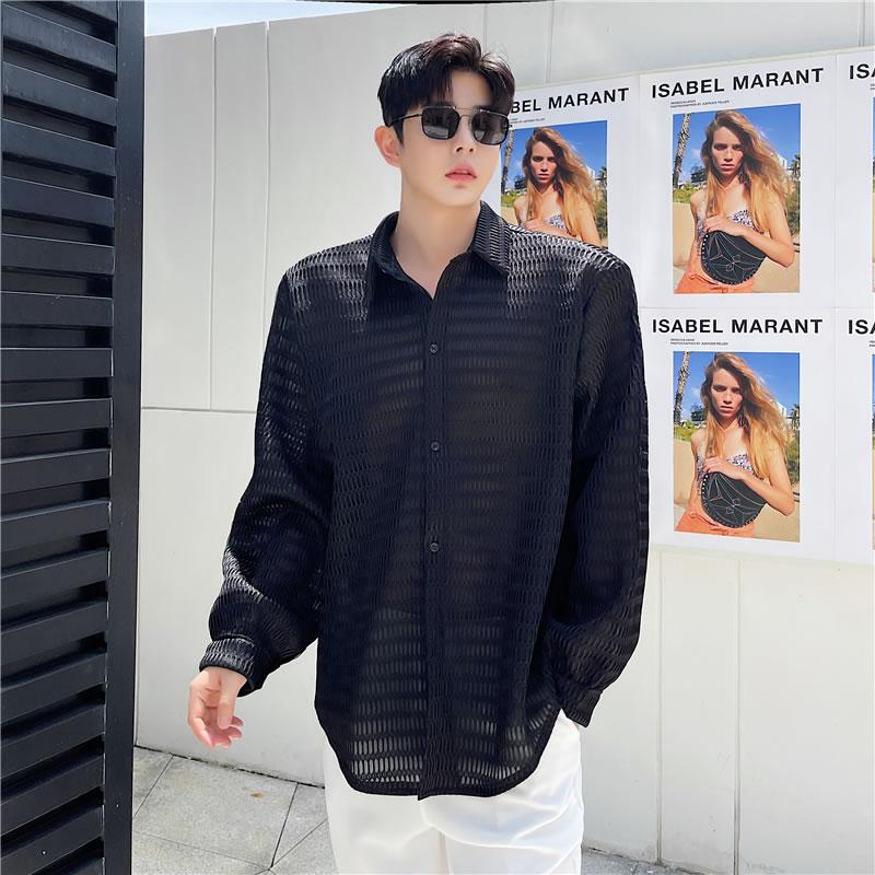 シャツ 長袖 カットソー ゆったり  無地  シースルー 透け感  yシャツ  カジュアルシャツ メンズシャツ  ドレスシャツ ボリューム袖 韓国 ファッション ジェンダーレス モード系 ゴスロリ V系 メンズ    カジュアル メンズ 春  夏 個性 大きいサイズ ビッグシルエット