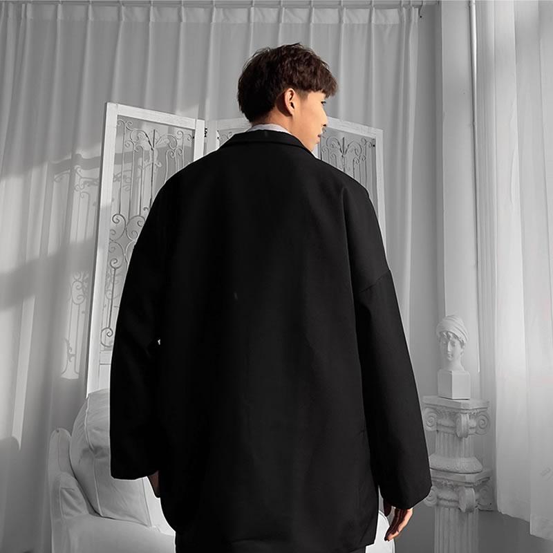 韓国 ファッション ゆったり テーラード ジャケット ダブル 4ボタン  スーツ オーバーコート アウター 男女 シェア服 メンズ レディース ユニセックス 男女兼用  春 秋冬  冬 衣装 カジュアル 大きいサイズ ペアコーデ お揃い おそろ リンクコーデ  双子 カップル 親子