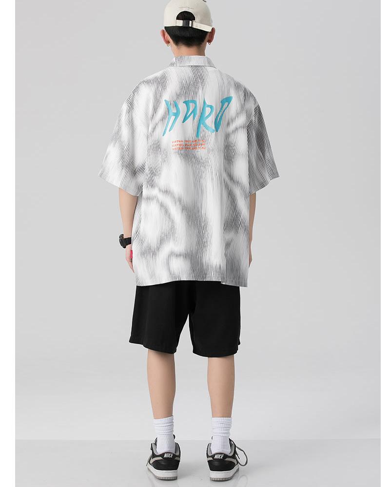 波柄 バックプリント シャツ ビッグシルエット 韓国 ファッション メンズ レディース ゆったり 半袖 ユニセックス ストリート系 ストリートファッション カジュアル 春 秋 夏 個性 大きいサイズ