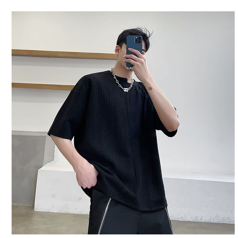 ゆったり ニット デザイン Tシャツ 半袖 無地 ハーフスリーブ ティーシャツ ドロップショルダー  tee  韓国 ファッション ジェンダーレス モード系 ゴスロリ V系 メンズ ショートスリーブ  ストリート カジュアル メンズ 春  夏 個性 大きいサイズ ビッグシルエット