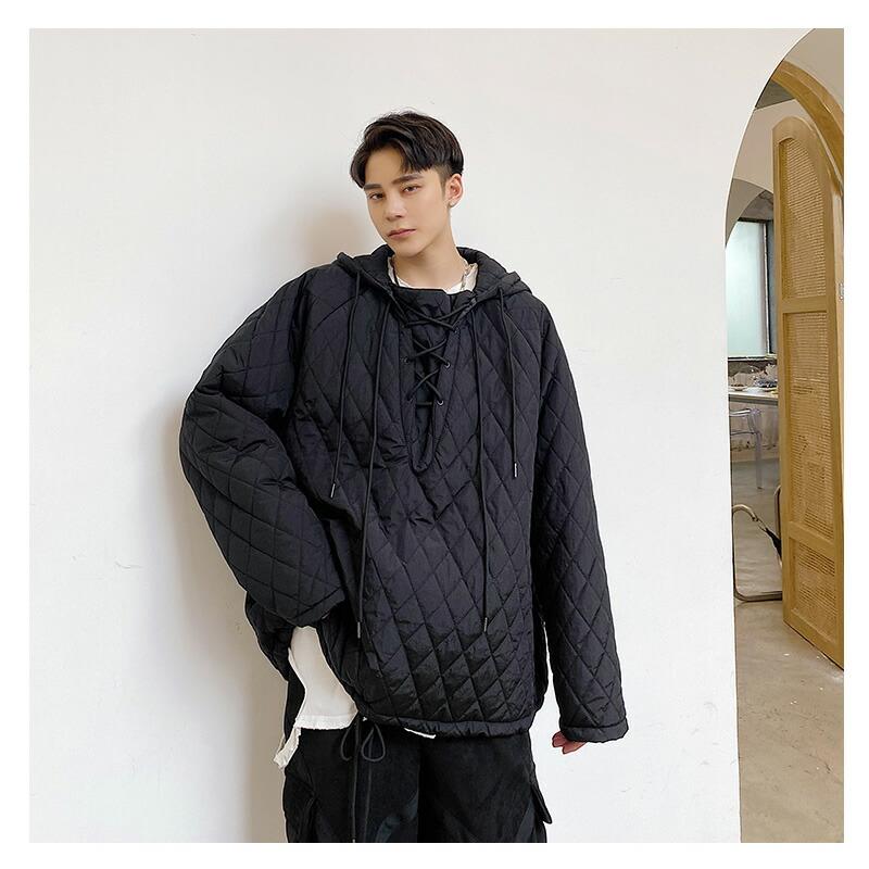 ビッグシルエット 中綿 プルオーバー フーディー パーカー 韓国 ファッション メンズ ゆったり 長袖 ロングスリーブ メンズ ストリート カジュアル メンズ 秋 冬 個性 大きいサイズ アウター ストリート