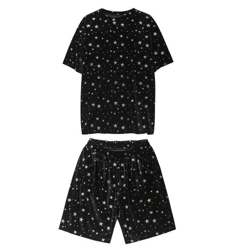 光沢生地 スター 星 総柄 ティーシャツ  セットアップ メンズ レディース ユニセックス 男女兼用 ゆったり  涼しい ショートパンツ 上下セット  ハーパン ハーフパンツ ショーツ  韓国 ファッション 夏 春 衣装 カジュアル おしゃれ 大きいサイズ