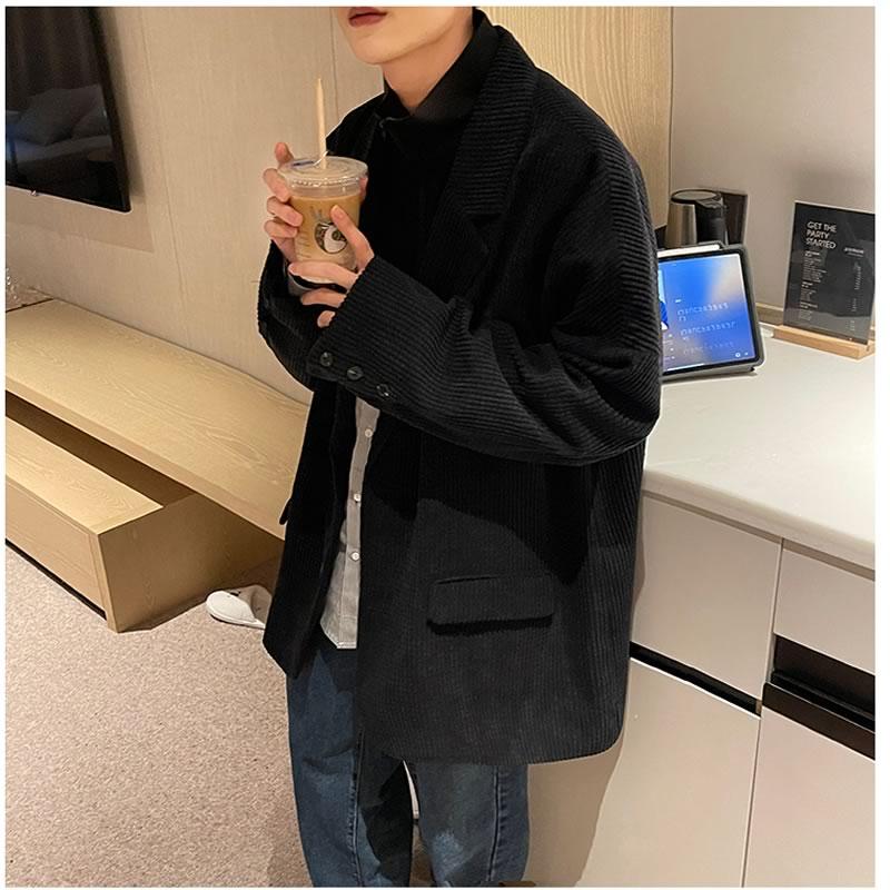 韓国 ファッション ゆったり  凸凹生地  テーラード ジャケット   スーツ オーバーコート アウター 男女 シェア服 メンズ レディース ユニセックス 男女兼用  春 秋冬  冬 衣装 カジュアル 大きいサイズ ペアコーデ お揃い おそろ リンクコーデ  双子 カップル 親子