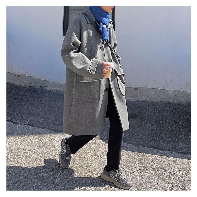 韓国 ファッション ゆったり ロング トレンチコート ビッグポケット ジャケット  オーバーコート アウター 男女 シェア服 メンズ レディース ユニセックス 男女兼用 春 秋冬  冬 衣装 カジュアル 大きいサイズ ペアルック お揃い おそろ リンクコーデ  双子 カップル 親子