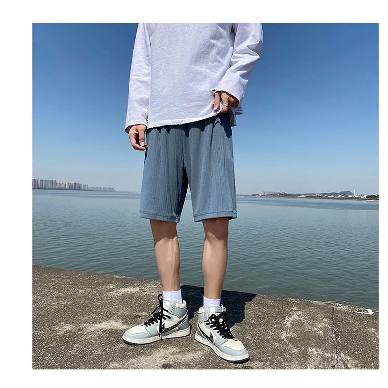 ハーフパンツ  ゆったり 凹凸生地 ショーツ  ショートパンツ  短パン ビーチ サーフ  膝丈 ひざ丈 おしゃれ 大きいサイズ メンズファッション ストリート系 スト系  K-POP アイドル