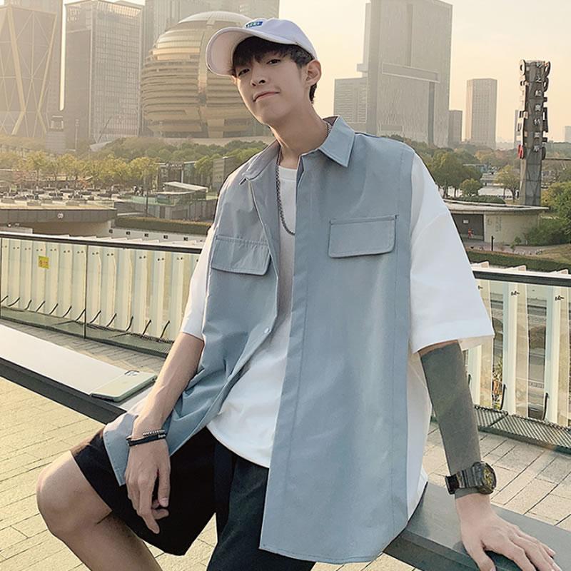韓国 ファッション メンズ 切り替え  シャツ  ベスト 重ね着風 カジュアルシャツ ビッグシルエット モードストリート ストリート系 ゆったり  モード系 春物 秋 夏物 サマー HIPHOP ダンス 大きいサイズ