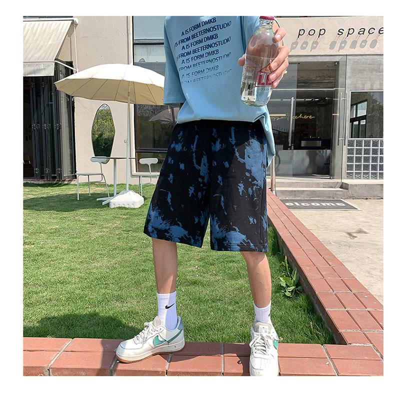 ハーフパンツ  ゆったり タイダイ柄 ショーツ  ショートパンツ  短パン ビーチ サーフ  膝丈 ひざ丈 おしゃれ 大きいサイズ メンズファッション ストリート系 スト系  K-POP アイドル