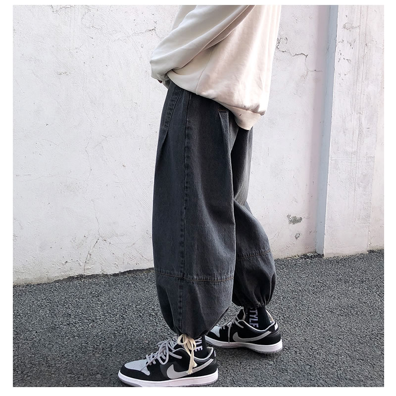 ワイドパンツ リラックスパンツ  デニム  裾 絞り しぼり バルーンパンツ アラジンパンツ バギーパンツ ジョガーパンツ ボトムス 個性 夏 秋 春 モード  メンズファッション カジュアル トレンド メンズ レディース ユニセックス 大きいサイズ